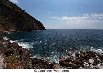 sea view and cliffs in riomaggiore, gulf of 5 terre, Italy