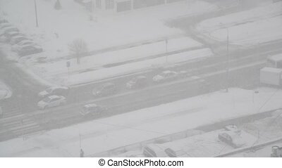 Top view of highway during a snowstorm in Moscow. Russia -...