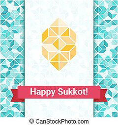 Happy Sukkot greeting card with etrog - Four species - palm,...