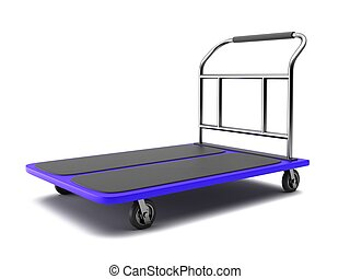 Baggage trolley on a white background 3D rendering