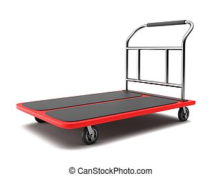 Baggage trolley on a white background. 3D rendering