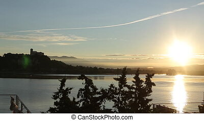 Sunset Time-Lapse of the Arona City, From Across the River