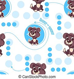 Seamless pattern with cute cartoon dog. Baby pattern.