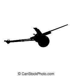 Artillery gun silhouette. Howitzer - Detailed artillery gun...