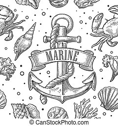 Seamless pattern sea shell, coral, crab, shrimp and anchor...
