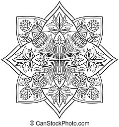 Vector floral mandala - Vector floral mandala on a white...