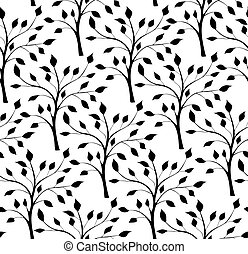 Pattern with silhouettes of trees - Seamless pattern with...