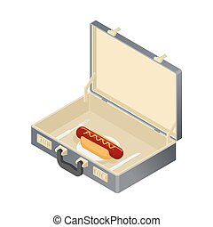 Business lunch, hotdog in case. Suitcase with fast food