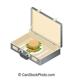 Business lunch case with hamburger and money. Suitcase with...