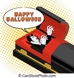 Happy Halloween Dracula screams from grave. Vampire in an open coffin. Illustration for terrible holiday