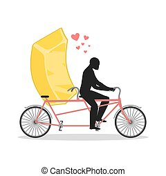 Lover gold. Golden bullion on bicycle. Lovers of cycling. Man rolls fast food on tandem. Joint walk with wealth. Romantic date