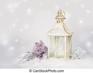 Christmas card with lantern, decorations and snow -...