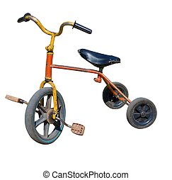 old vintage tricycle children bicycle. Isolated over white...