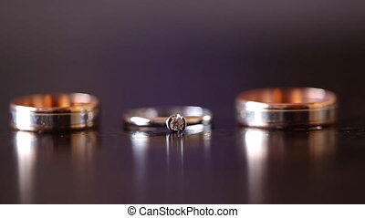 Wedding Ring Against the Background of The Table HD