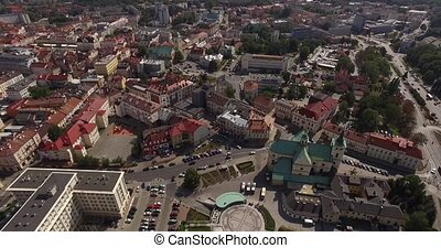 Rzeszow aerial City Centre of midday rush hour Traffic Taken...
