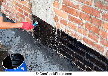 covered brick wall primer - Roofer covered brick wall,...
