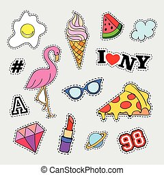 Fashion patch badges with different elements. Set of...
