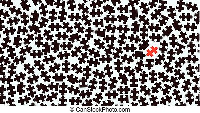 Odd One Out - Random dark jigsaw pieces with an odd one over...