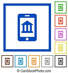 Mobile banking framed flat icons