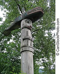 Killer Whale Totem in Alaska - Killer whale totem pole at...