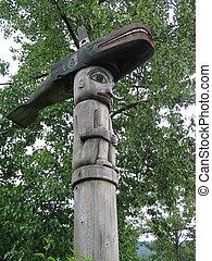 Killer Whale Totem in Alaska - Killer whale totem pole at...