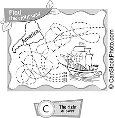 BW Columbus Day - visual game, coloring book for children....