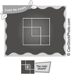 BW Count the squares - visual game for children. Task: count...