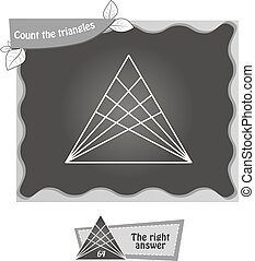 BW Count the triangles 1 - visual game for children. Task:...