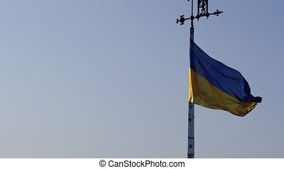 Aerial Shot Ukrainian National Flag Flying on Top of the...