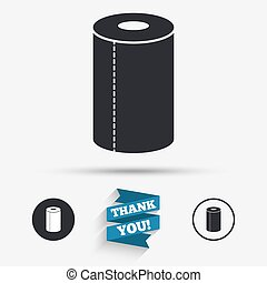 Paper towel sign icon. Kitchen roll symbol. Flat icons....