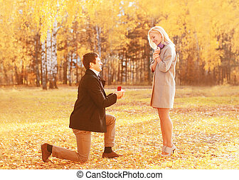 Love, relationships, engagement and wedding concept -...
