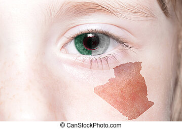 human's face with national flag and map of algeria.