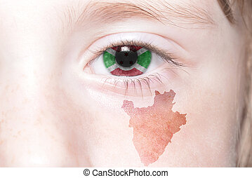 human's face with national flag and map of burundi.