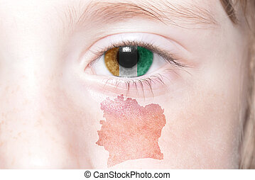 humans face with national flag and map of cote divoire...