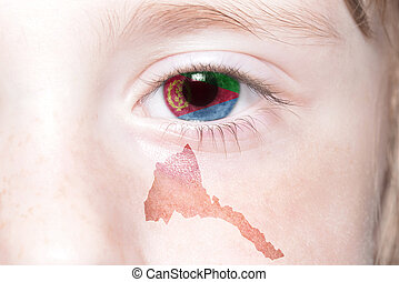 human's face with national flag and map of eritrea.