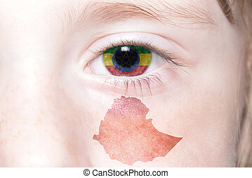 human's face with national flag and map of ethiopia.