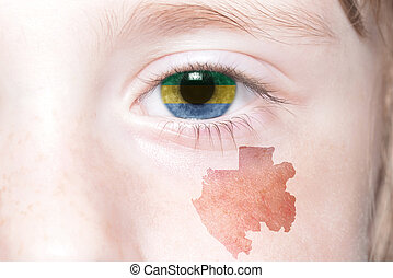 humans face with national flag and map of gabon concept