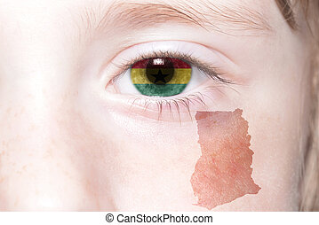human's face with national flag and map of ghana.
