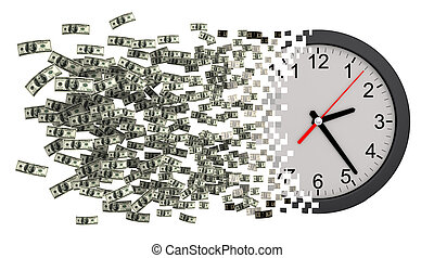 Time Is Money Clock Falling Apart To Dollars 3D Illustration...
