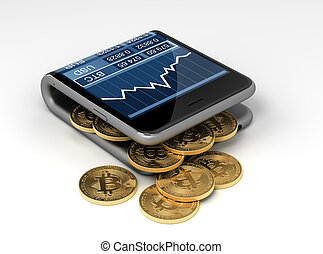 Concept Of Virtual Wallet And Bitcoins 3D Illustration