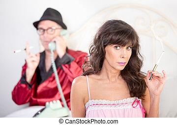 Smoking Woman and Playboy - Smoking retro style snooty...