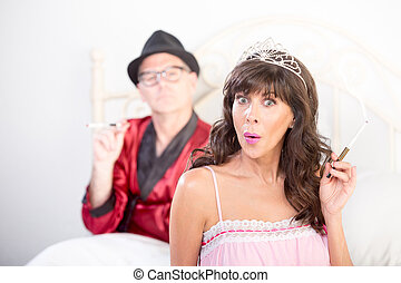 Smoking Puzzled Princess and Playboy Portrait in Bed -...