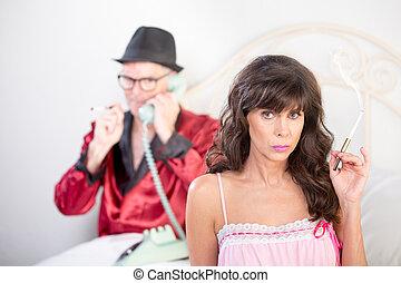 Smoking Woman in Nightie and Playboy - Smoking retro style...