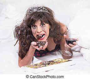 Upset Woman in Tiara Drinking Wine and Gulipng Down...