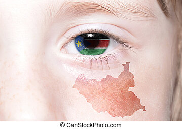 human's face with national flag and map of south sudan....