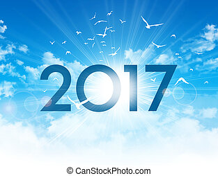 2017 New day greeting card - New Year 2017 type high in blue...