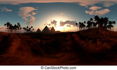 panoramic of egyptian pyramid in desert at sunset made with...