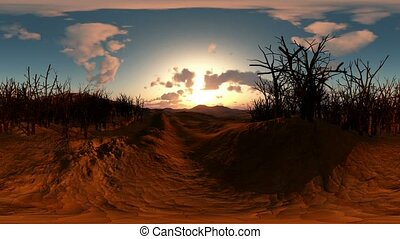 panoramic of dead trees in desert at sunset. made with the...