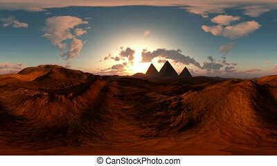 panoramic of egyptian pyramid in desert at sunset. made with...