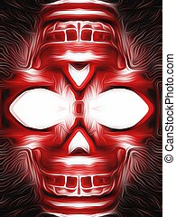 red skull - drawing and painting red skull with black...